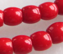 AA Red Coral 7mm Barrel Beads