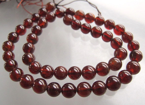 deep translucent hessonite garnet 8mm smooth round beads hk