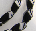 AA Black Tourmaline 5x8mm Twist Barrel Beads