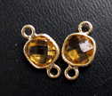 AA Citrine Gold Bezel 2 Ring Fancy Cut 7mm Square Connector Beads
