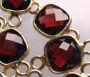 AA Red Garnet Gold Bezel 2 Ring Square Connector Beads