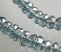 Silver Gray Teal Mystic Quartz Faceted 4mm Rondelle Beads