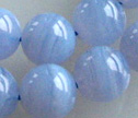 Deep Blue Lace Agate 8mm Smooth Round Beads