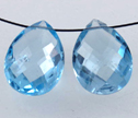 Blue Topaz w/ Inclusion Faceted 10x14mm Side Drilled Briolette Beads